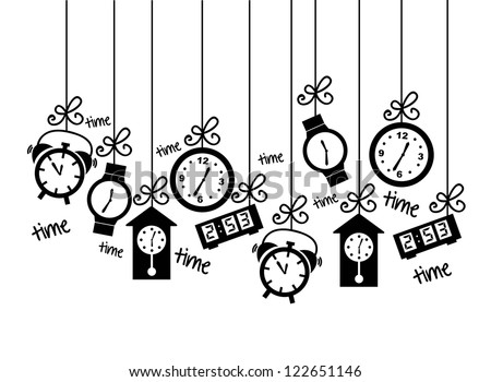 clock icons over white background. vector illustration