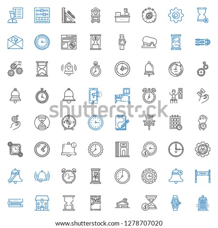 clock icons set. Collection of clock with police box, smartwatch, hourglass, school, wake up, stapler, finish, bell, wall clock, phone box. Editable and scalable clock icons.