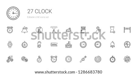 clock icons set. Collection of clock with watch, wall clock, alarm stopclock, setting, settings, school, stapler, limited time, wake up. Editable and scalable icons.