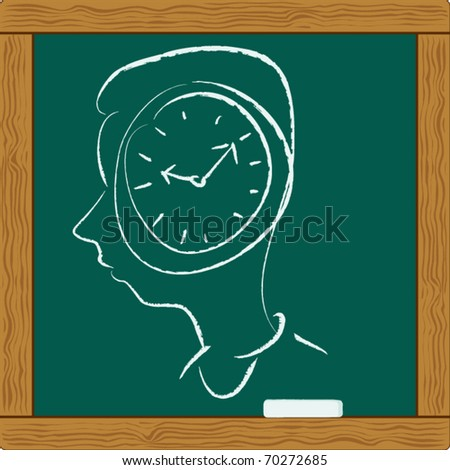 clock in businessman brain mind