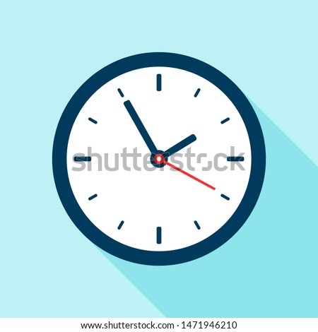 Clock in flat style. Vector office clock. Swatch with shadow.