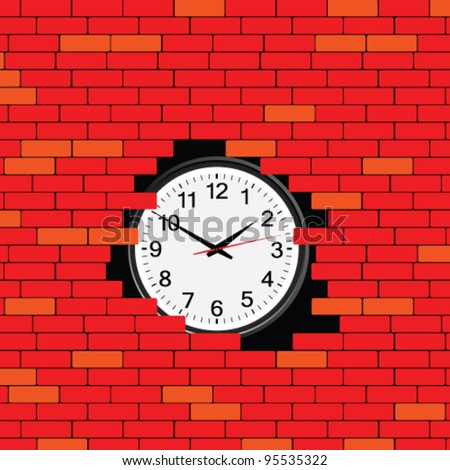 clock in the brick wall vector illustration