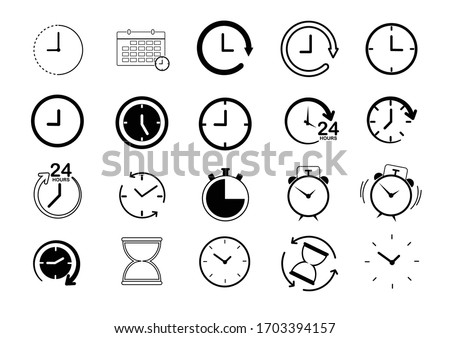 Clock line icon set.collection clock icon on white background.vector