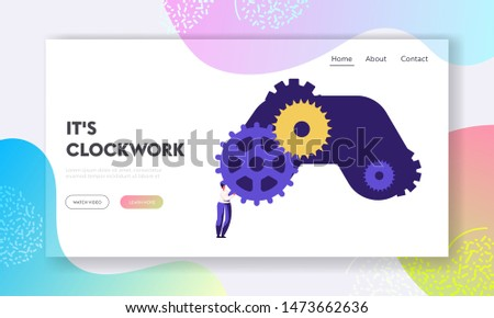 Clock Mechanism Website Landing Page. Tiny Woman Character Standing at Huge Gears and Cogwheels. Time Management, Idea Development, Creativity Concept Web Page. Cartoon Flat Vector Illustration Banner