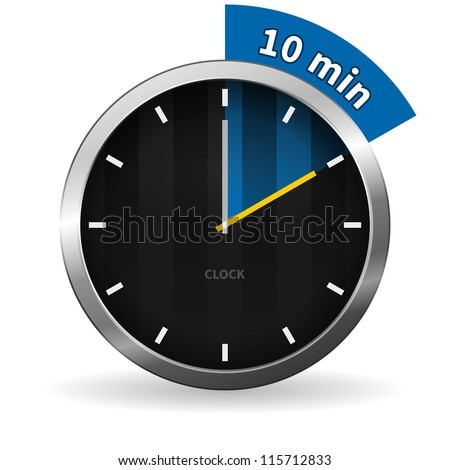 Clock 10 Minutes To Go - Dark Clock on White background with blue highlight