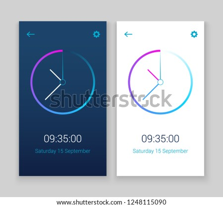 Clock mobile app concept UI design day and night. Clock user interface time vector widget design modern technology.