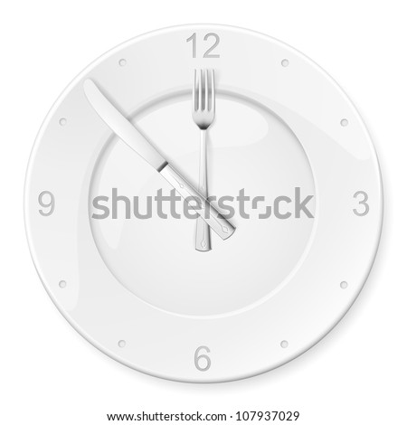 Clock of the plates and forks, spoons. Illustration for design on white background