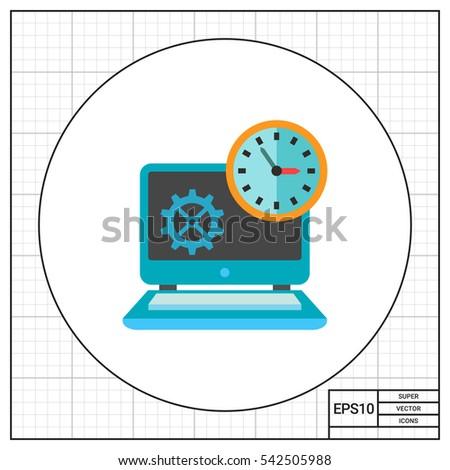 Clock on Laptop Icon