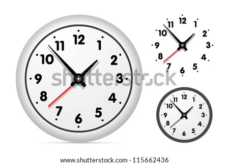 Clock on the white wall set. Vector illustration