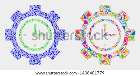 Clock setup wheel collage icon of triangle items which have different sizes and shapes and colors. Geometric abstract vector design concept of clock setup wheel.
