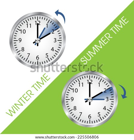 clock showing summer and winter