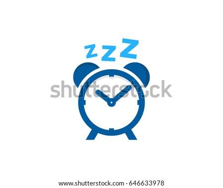 Clock Sleep Icon Logo Design Element