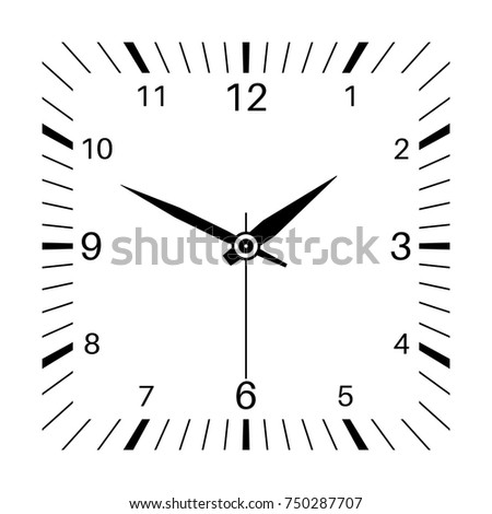 Clock. Square shaped clock. Vector illustration isolated on white background