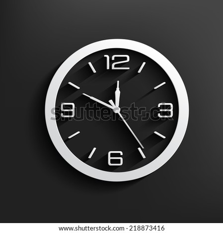 Clock symbol on dark background clean vector
