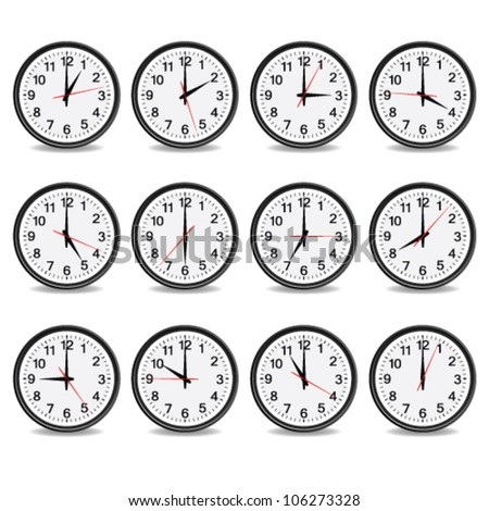 clock that show every hour vector illustration on white