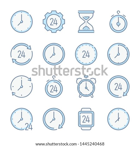 Clock, Time and Time management related blue line colored icons.