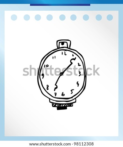 clock timer alarm cartoon vector illustration doodle