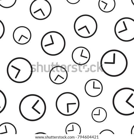 Clock timer seamless pattern background. Business flat vector illustration. Clock watch sign symbol pattern.