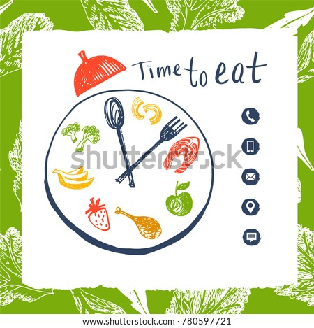 clock to show time eat concept