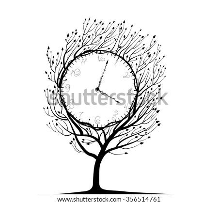 clock tree  black and white
