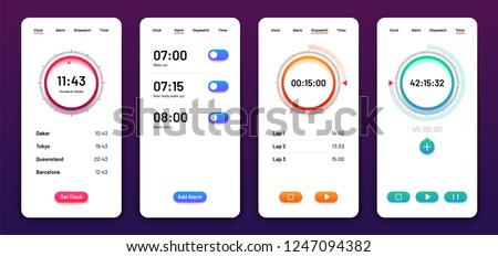 Clock user interface. Alarm stopwatch timer ui mobile phone. Time app vector design