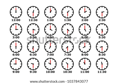 clock vector icon set, all clockwise and time stamp collection, simple design minimal style