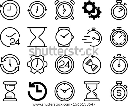 clock vector icon set such as: control, factory, wristwatch, manager, setup, counting, pixel, cog, antique, organization, repair, running, stroke, communication, motion, session, computer, express