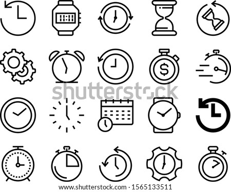 clock vector icon set such as: timetable, mechanical, appointment, reload, support, target, money, complete, system, alarmclock, calendar, month, past, mechanic, machinery, transmission, refresh