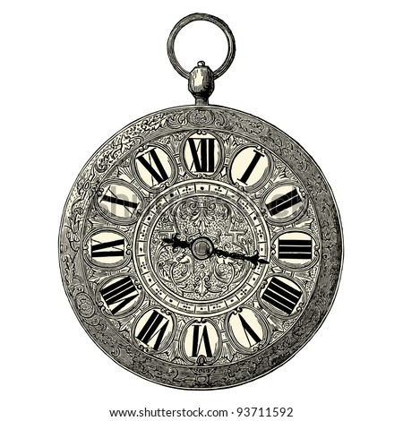 clock    vintage engraved