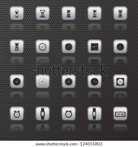 clock web icons buttons set with reflections on dark background
