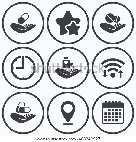 clock  wifi and stars icons