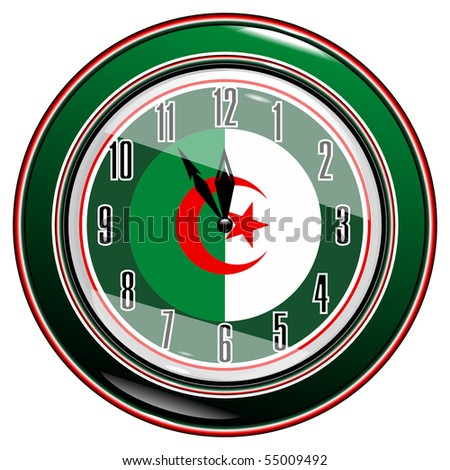 Clock with a flag of Algeria vector eps1