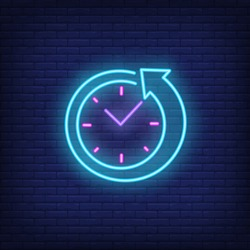 Clock with arrow neon sign. Round clock service advertisement design. Night bright neon sign, colorful billboard, light banner. Vector illustration in neon style.