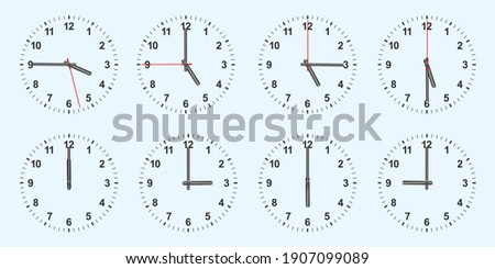 clock with different times. Vector illustration. Clock vector icons. Clock icon isolated.