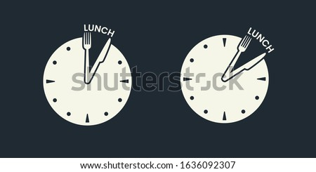 Clock with fork and knife as clock hands shows lunch time. Time to lunch concept. 12 o'clock, 13 o'clock time. Restaurant, cafe signboard or banner. Dinner meal. Vector illustration Сток-фото ©