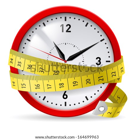 Clock with measuring tape as concept of diet with time limit.