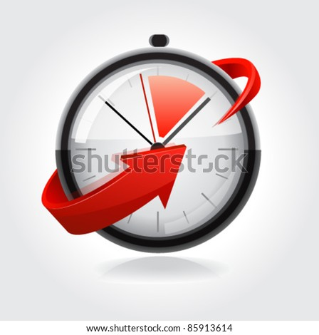 Clock with red arrow. Vector