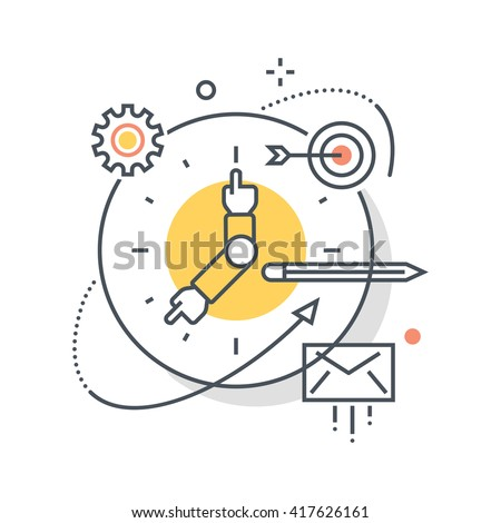 Clock, work hours concept illustration, icon, background and graphics. The illustration is colorful, flat, vector, pixel perfect, suitable for web and print. It is linear stokes and fills.