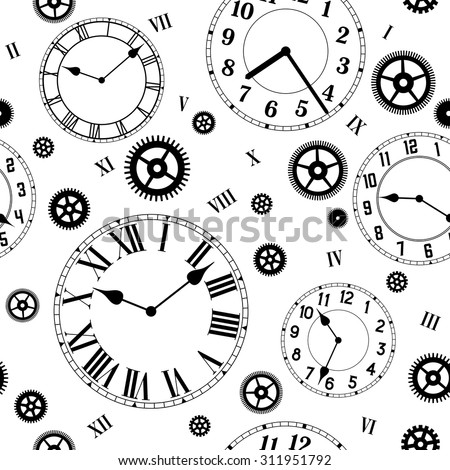 clocks gears vector seamless