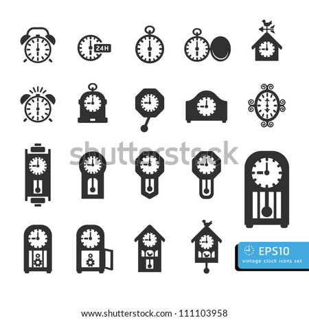 clocks  icon set vector