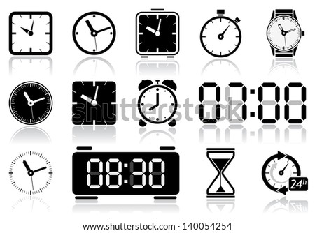 Clocks icon set. Vector illustration of different clock web icons