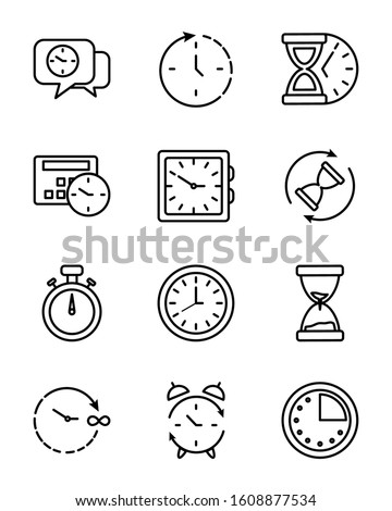 Clocks instruments icon set design, Time tool watch second deadline measure countdown and object theme Vector illustration