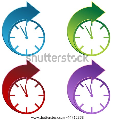 Clocks moving foward isolated on a white background.