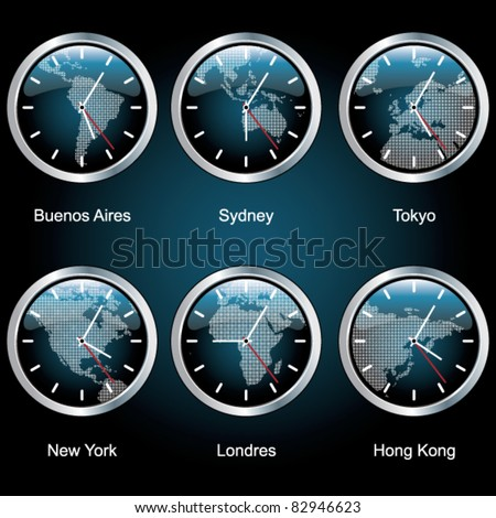 clocks of important capitals of