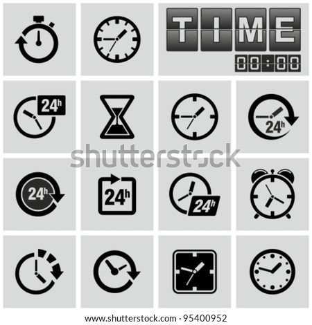 clocks  time icons set