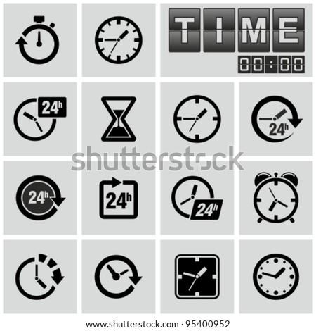 Clocks, time icons set.