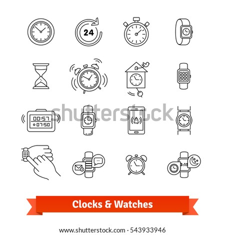 Clocks & Watches. Thin line art icons set. Various type of time measure devices, from hourglass to smartwatch. Linear style symbols isolated on white.