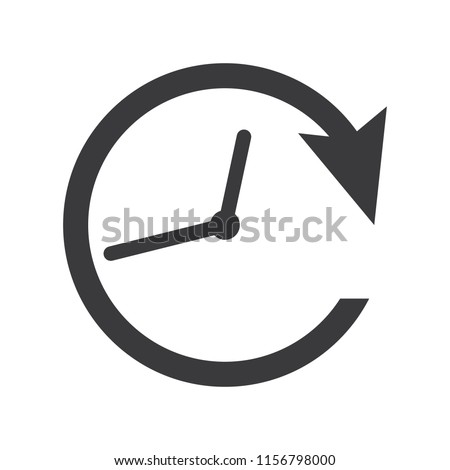 Clockwise rotation icon arrow and time. Clock icon vector eps10.