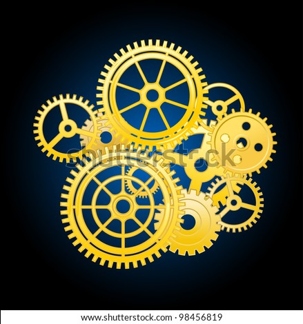 Clockwork mechanism elements with gears for time concept design. Jpeg version also available in gallery