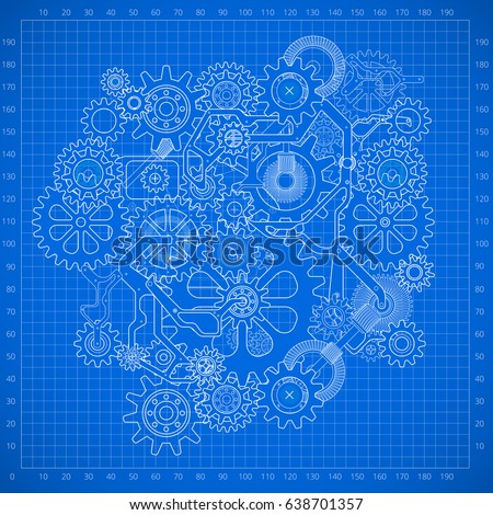 Clockworks mechanism in steampunk style illustration with many gears drawn blueprint, blue background illustration
